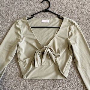 sage green cropped top with bow from rumor